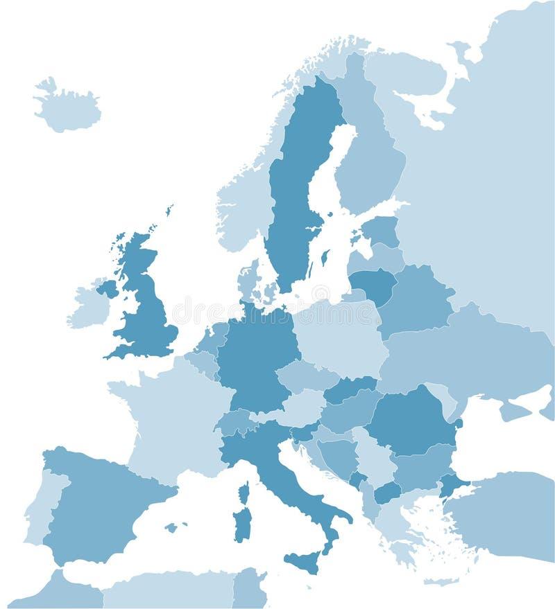 blå Europa översikt stock illustrationer