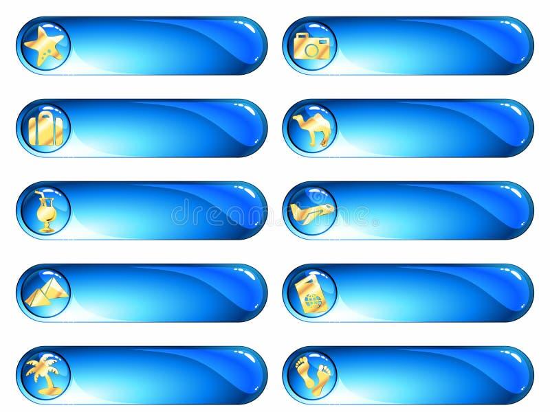 blå exotisk guldetikettsemester royaltyfri illustrationer