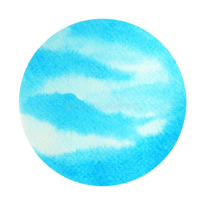 Blå färg av begreppet för chakrasymbolhals, vattenfärgmålning royaltyfri illustrationer