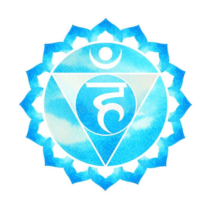 Blå färg av begreppet för chakrasymbolhalsen, blommar blom- stock illustrationer