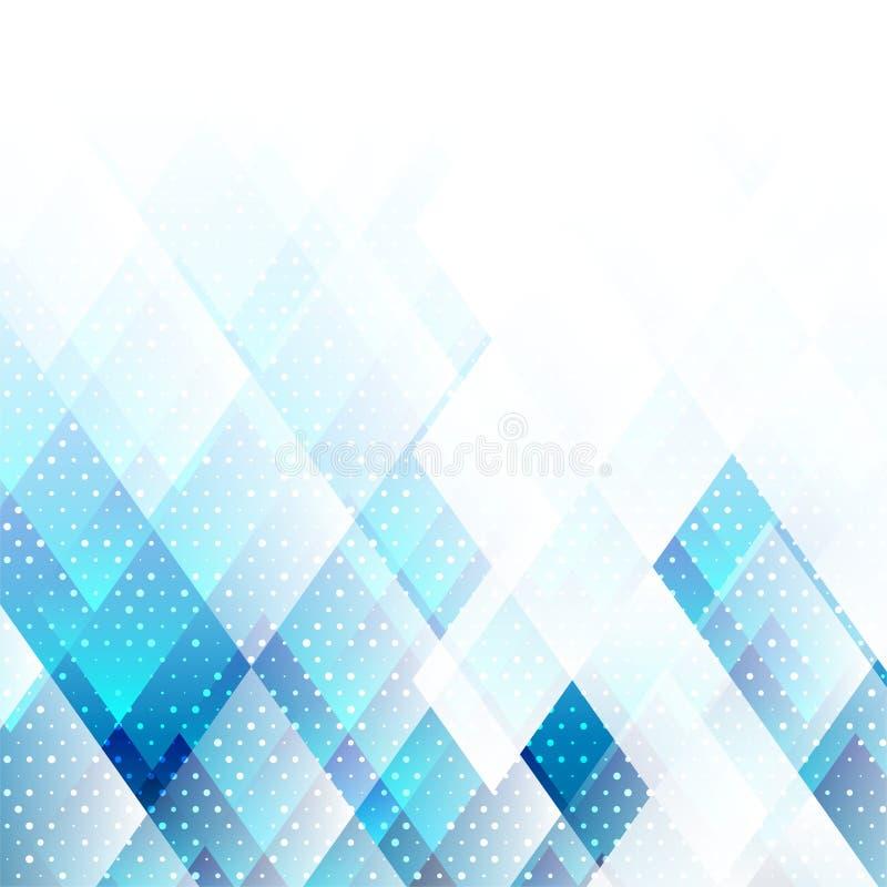 Blå färg för geometriska beståndsdelar med abstrakt vektorbakgrund för prickar vektor illustrationer