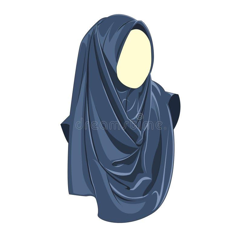 Blå färg för Hijab muslimahvektor stock illustrationer