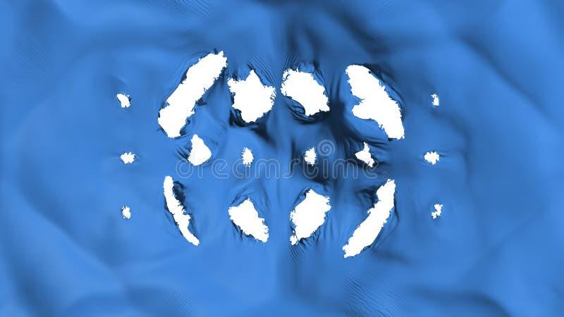 Blå färgflagga med små hål stock illustrationer