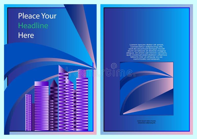 Blå färgintrig med mallen för design för bokomslag för stadsbakgrundsaffär, broschyr, häfte, baner, affisch vektor illustrationer