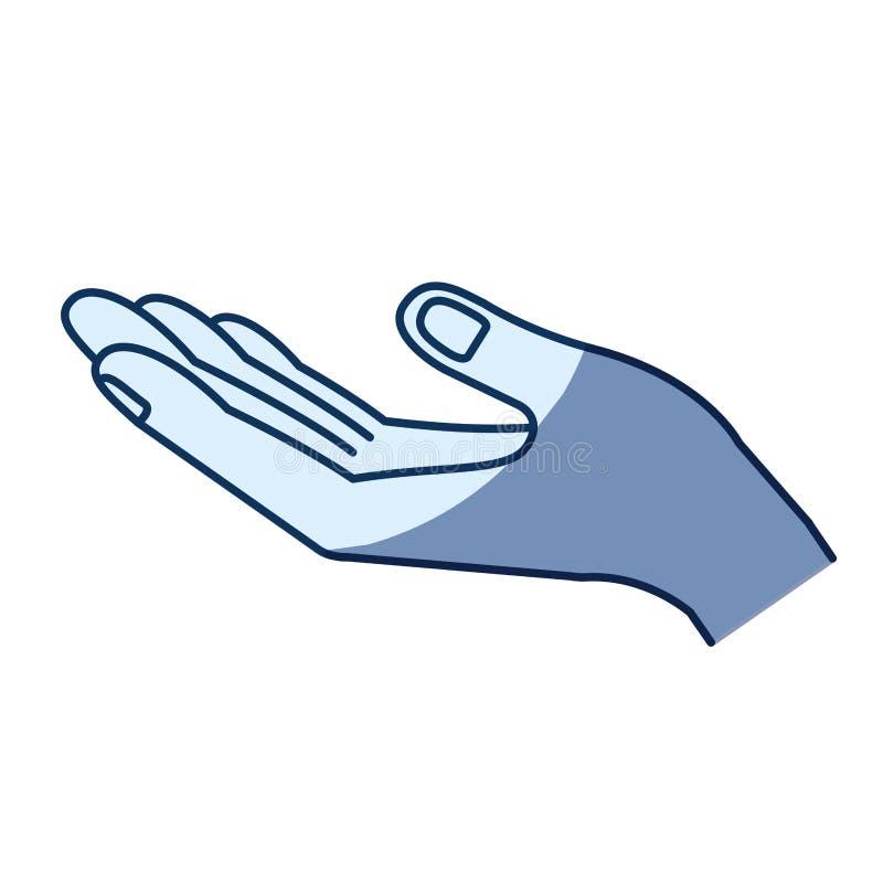 Blå färgkonturskuggning av den öppnade handen av symbolet av att motta royaltyfri illustrationer