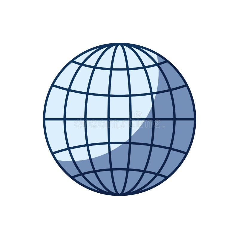 Blå färgkonturskuggning av för jordklotjord för främre sikt diagrammet för värld med linjer vektor illustrationer
