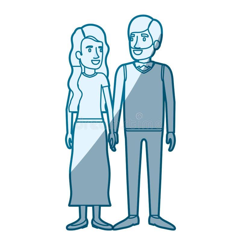 Blå färgkonturskuggning av man- och kvinnaanseendet och hennes med lång krabbt hår och honom i formellt kläder och skägg vektor illustrationer