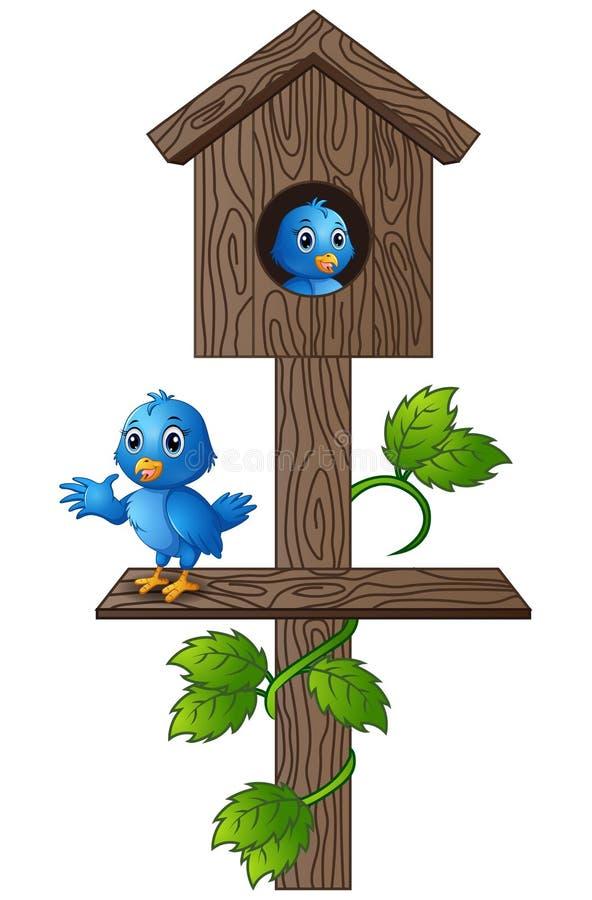 Blå fågel för tecknad film i träbrevlåda royaltyfri illustrationer