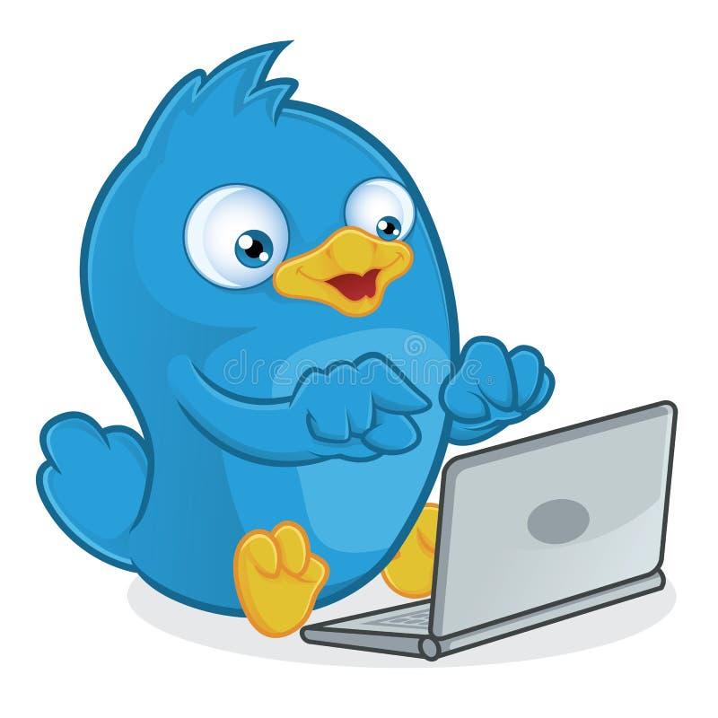 Blå fågel med bärbara datorn stock illustrationer