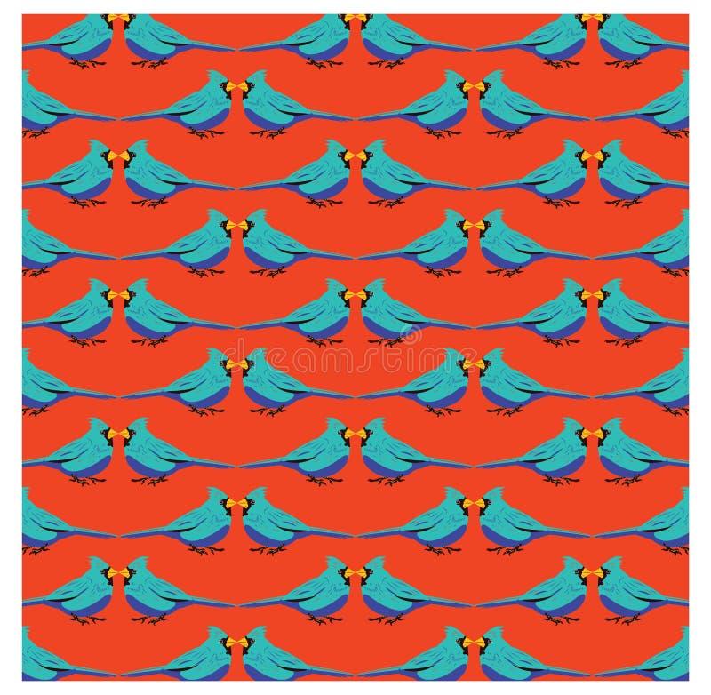 Blå fågel med den orange bakgrundsmodellen vektor illustrationer