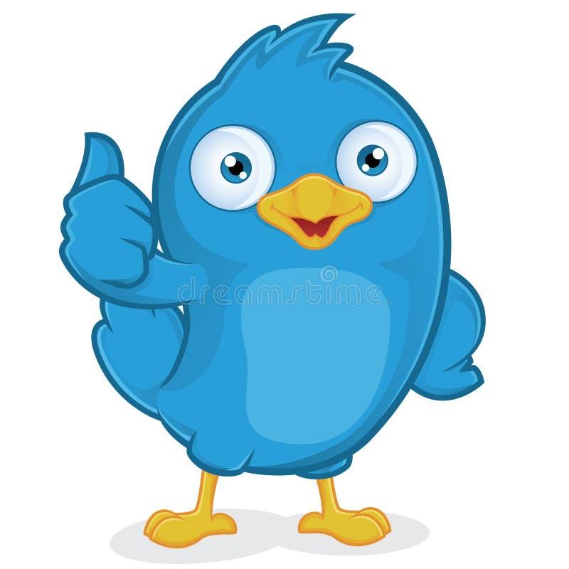 Blå fågel som ger upp tummar vektor illustrationer