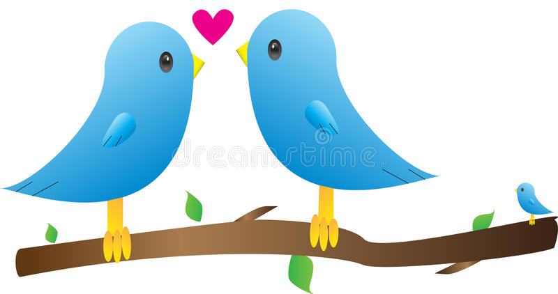 Blå fågelfamilj royaltyfri illustrationer