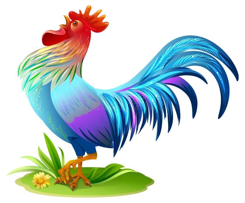 Blå fågelhane Blått tuppsymbol 2017 år på östligt horoskop royaltyfri illustrationer