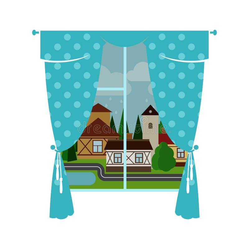 Blå fönstergardin och regnig stad stock illustrationer