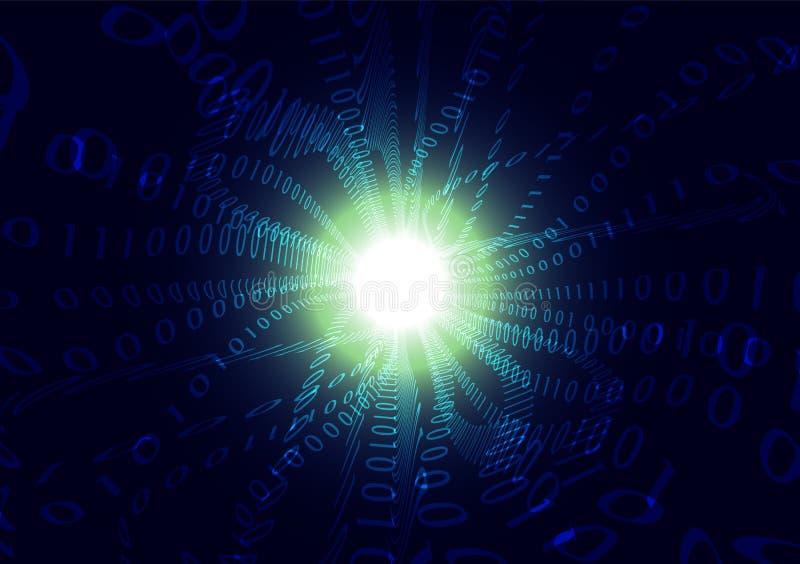 Blå för ångavåg för binär kod bakgrund för abstrakt begrepp, datateknikkommunikationsbegrepp royaltyfri illustrationer