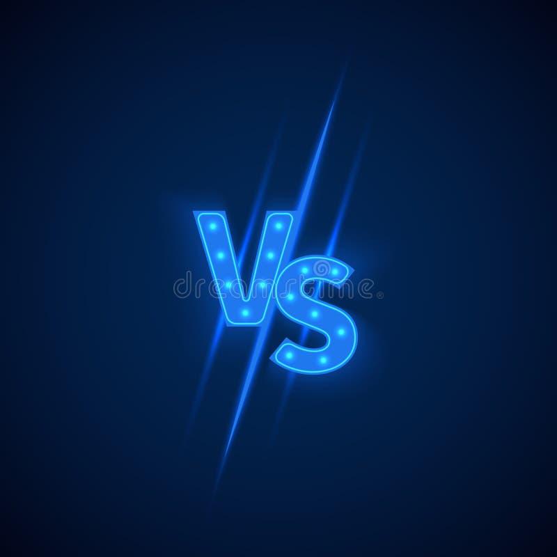 Blå för neon logo kontra vs bokstäver för sportar och kampkonkurrens color vektorn för det set symbolet för flamman royaltyfri illustrationer