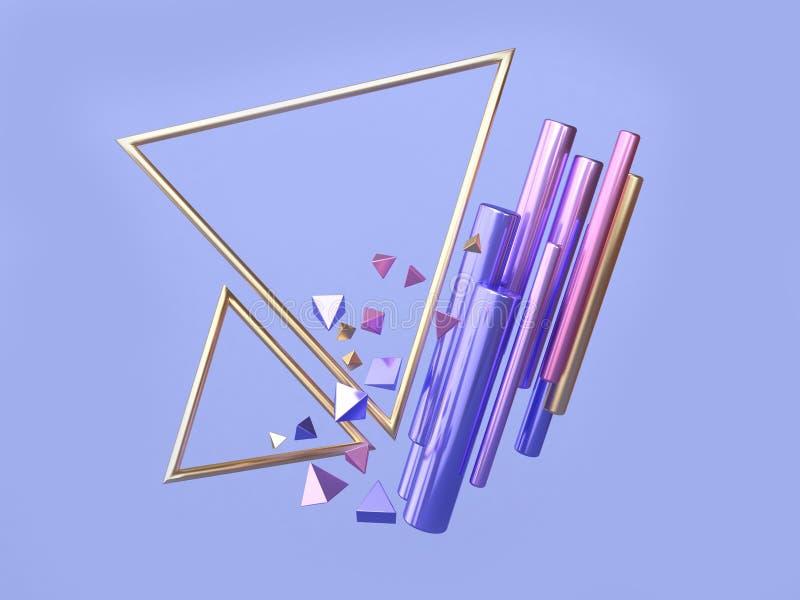 Blå för triangelram rosa/purpurfärgad guld- geometrisk form som svävar tolkningen för triangelram 3d royaltyfri illustrationer