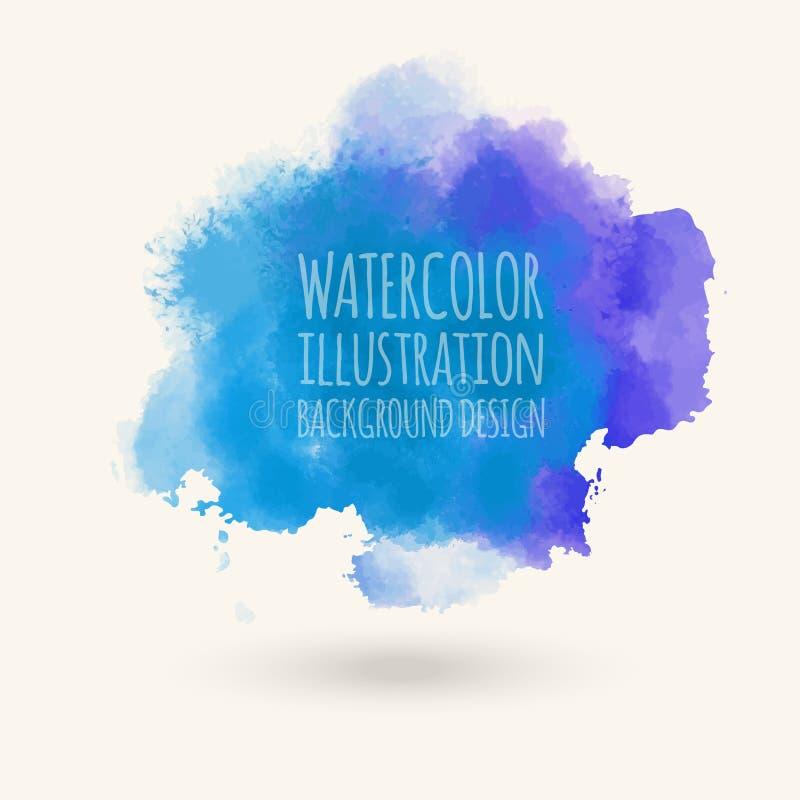 Blå för vektorwash för vattenfärg hand dragen isolerad fläck på vit stock illustrationer