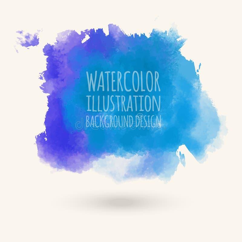 Blå för vektorwash för vattenfärg hand dragen isolerad fläck på vit vektor illustrationer