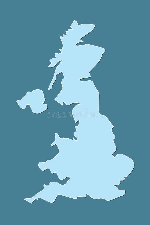 Blå Förenade kungariket eller UK-översikt utan uppdelningar med gränser på mörk bakgrund royaltyfri illustrationer