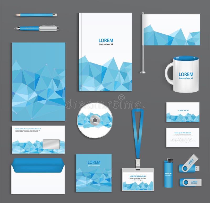 Blå företags ID-mall med triangulära framsidor, företagsstil, abstrakt begrepp av designbeståndsdelar stock illustrationer