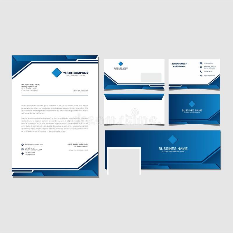 Blå företags märkesidentitet och fastställd mallvektor för affär royaltyfri illustrationer