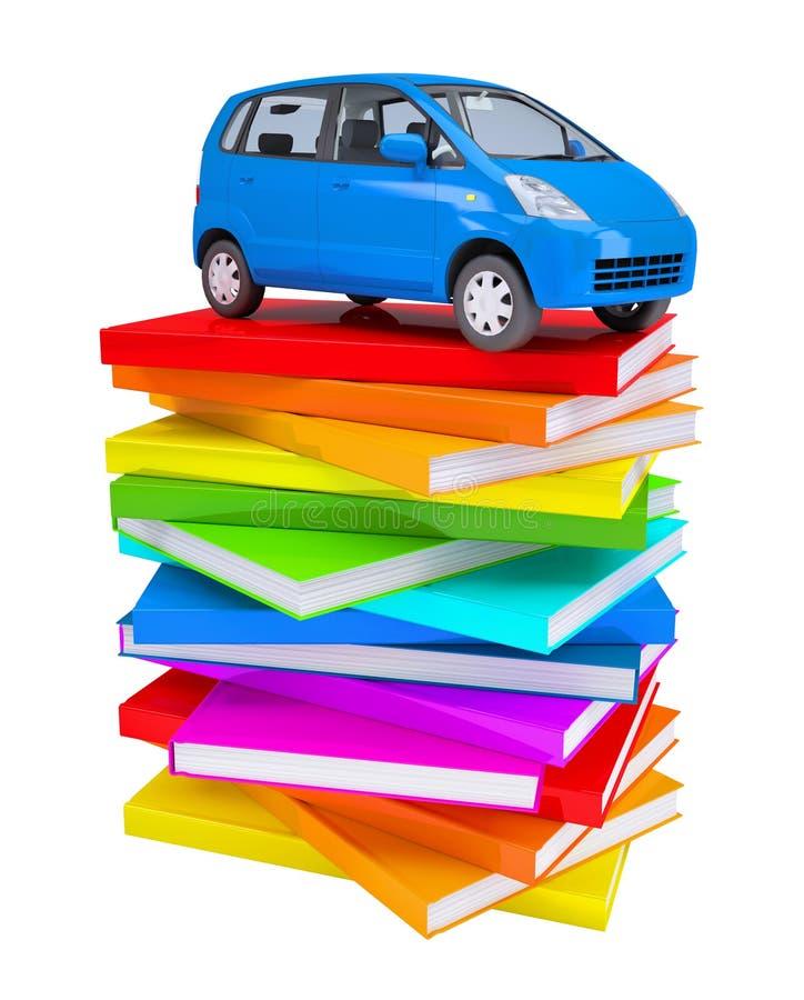Blå familjebil på en bunt av färgrika böcker stock illustrationer