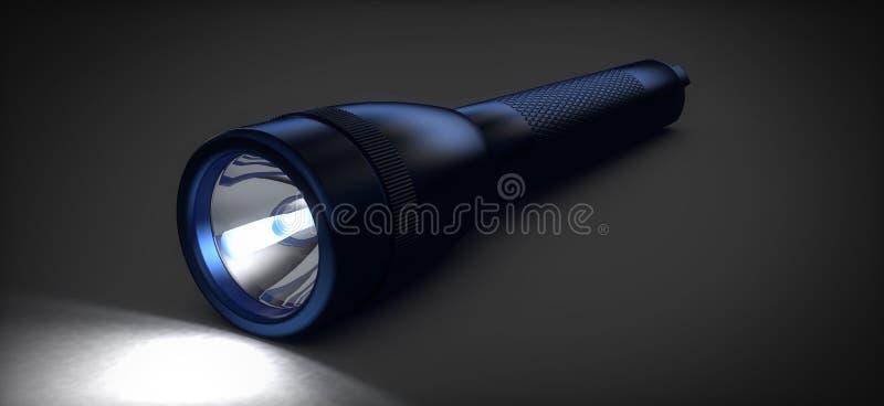 Blå ficklampa stock illustrationer