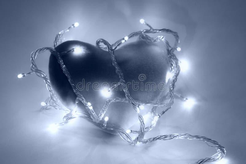 blå filterhjärta arkivbild
