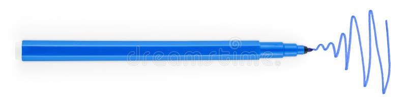 Blå filtpenna arkivbilder