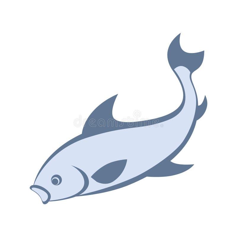 Blå fiskattack för tecken vektor illustrationer