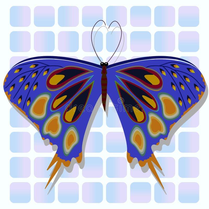 blå fjäril royaltyfri illustrationer