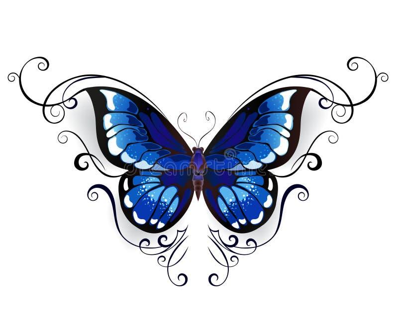 Blå fjäril för tatuering royaltyfri illustrationer