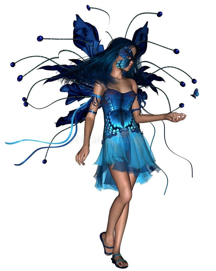 blå fjärilsfe royaltyfri illustrationer