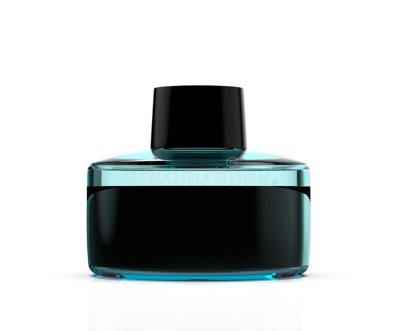Blå flaska för exponeringsglas med den vätskeillustrationen 3d stock illustrationer
