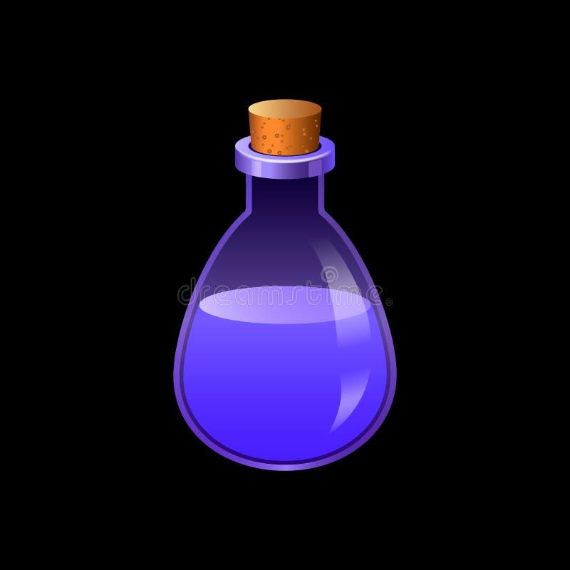 Blå flaskasymbol, tecknad filmstil stock illustrationer