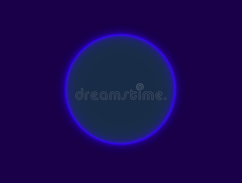 Blå fluorescerande cirkel stock illustrationer