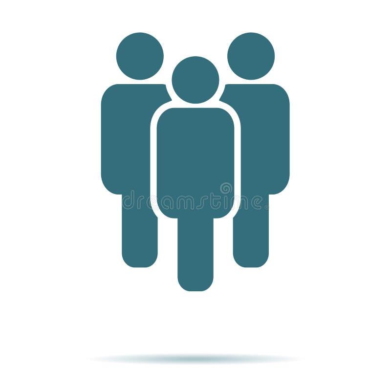 Blå folksymbol som isoleras på bakgrund Modern plan pictogram, affär, marknadsföring, internetconcep stock illustrationer