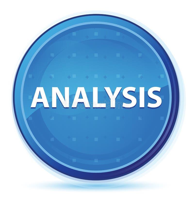Blå främsta rund knapp för analysmidnatt stock illustrationer