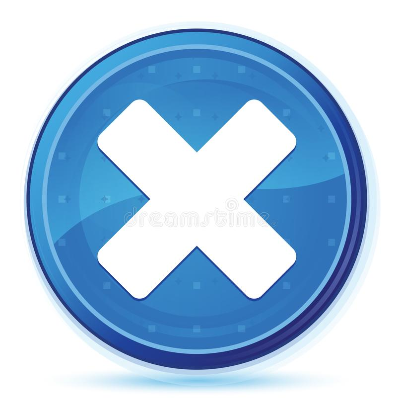 Blå främsta rund knapp för annulleringssymbolsmidnatt stock illustrationer