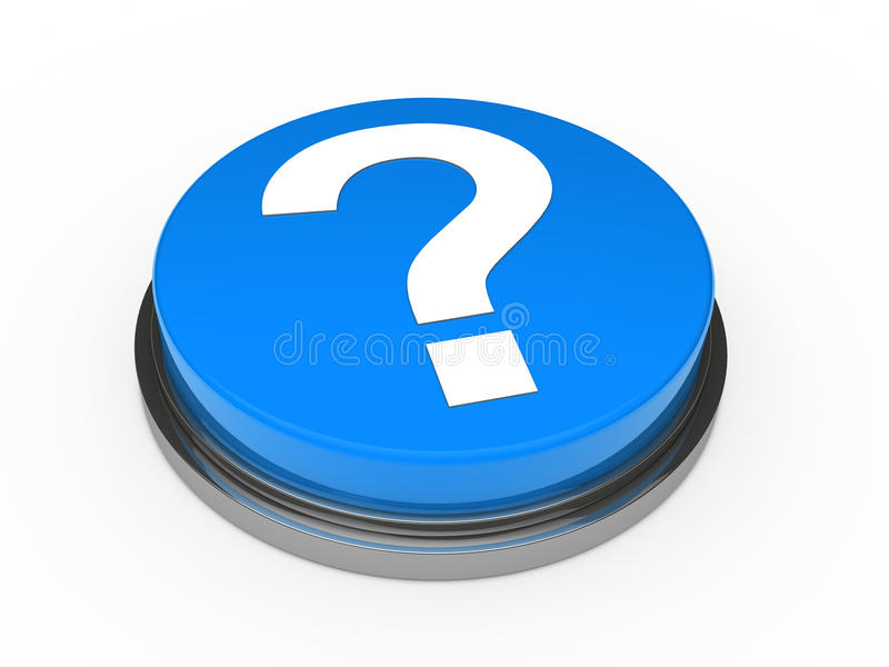 blå frågefläck för knapp 3d royaltyfri illustrationer