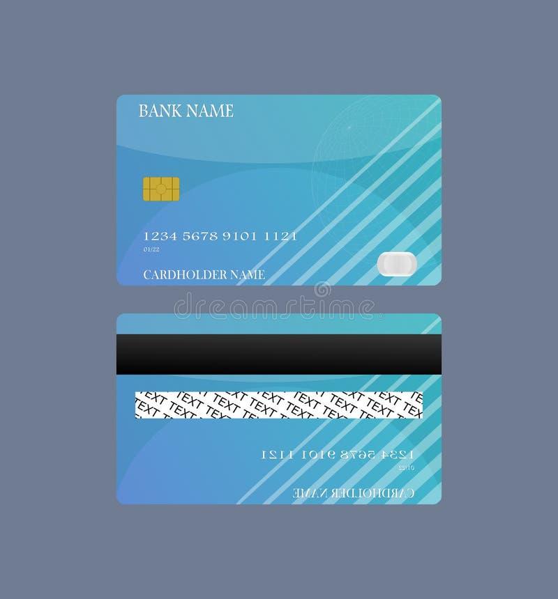 Blå framdel för kreditkort och tillbaka isolerat på vit bakgrund Vektorillustrationbegrepp design för affärsshoppingbetalning stock illustrationer