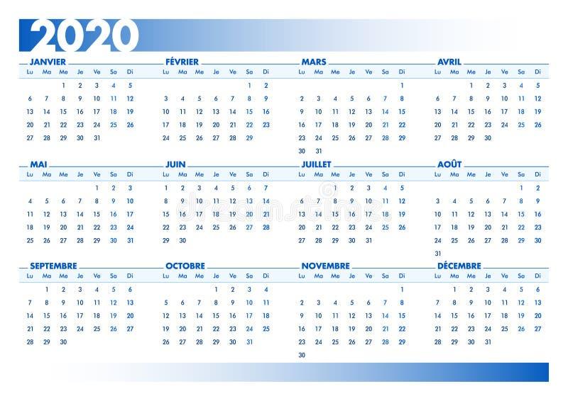 Blå 2020 - Fransk kalender Utskrivbar liggande version stock illustrationer