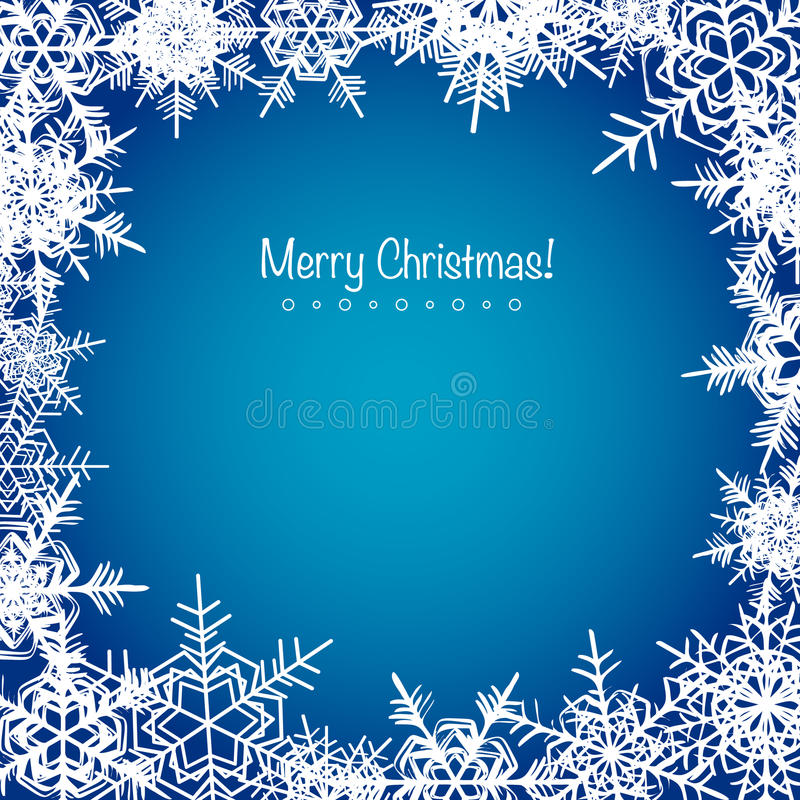Blå frostig julsnöflingabakgrund stock illustrationer
