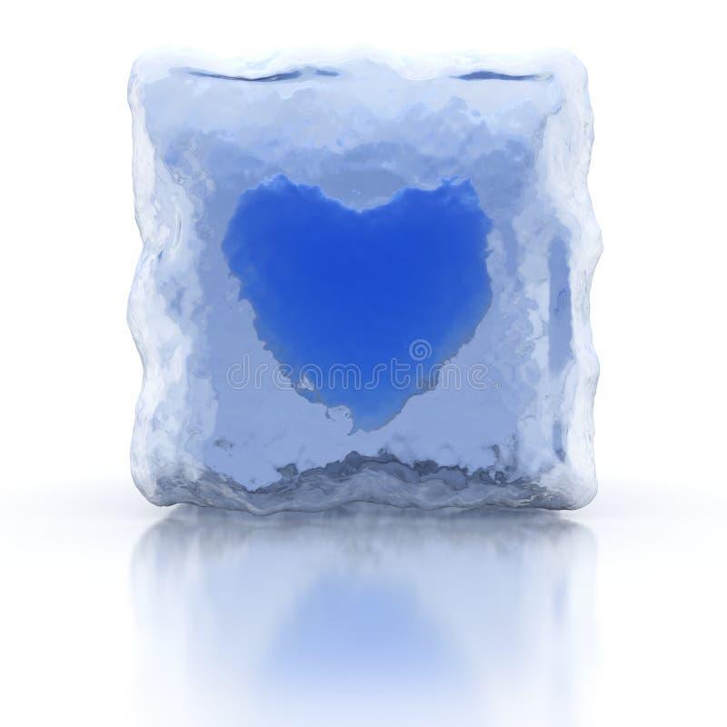 blå fryst hjärta royaltyfri illustrationer