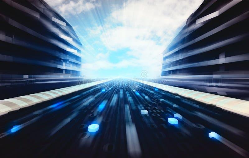 Blå futuristisk stadsgata med vägtapeten för binär kod royaltyfri illustrationer