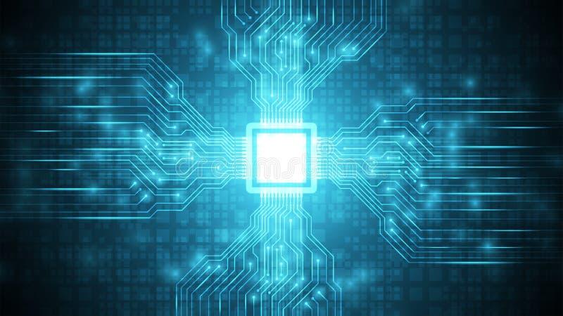 blå futuristisk strömkrets med CPU-teknologibakgrund, moderkort på cyberspace, bakgrund för teknologi för överföringsdataprocess royaltyfri illustrationer