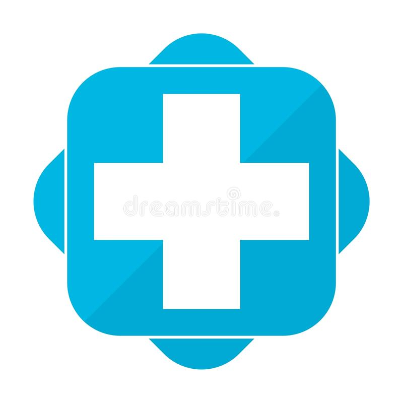 Blå fyrkantig symbol plus sjukhus stock illustrationer