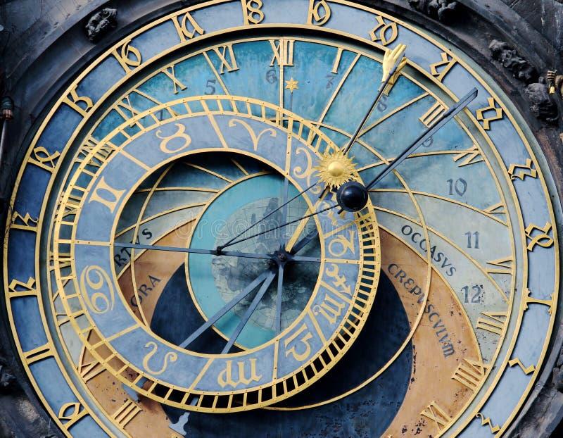 Blå gammal prague astronomisk klocka arkivbild