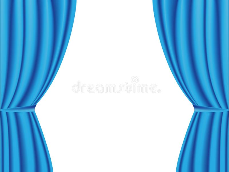 Blå gardin som öppnas på vit bakgrund royaltyfri bild